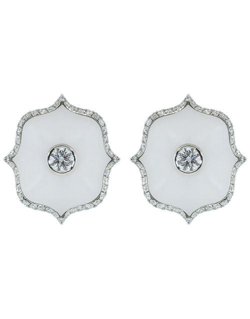 BAYCO JEWELRYFINE JEWELEARRING PLAT White Ceramic Mini Lotus Earrings