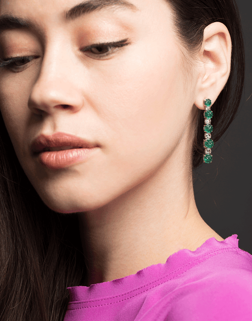 BAYCO JEWELRYFINE JEWELEARRING PLATINUM Zambian Emerald and Rose Cut Drop Earrings
