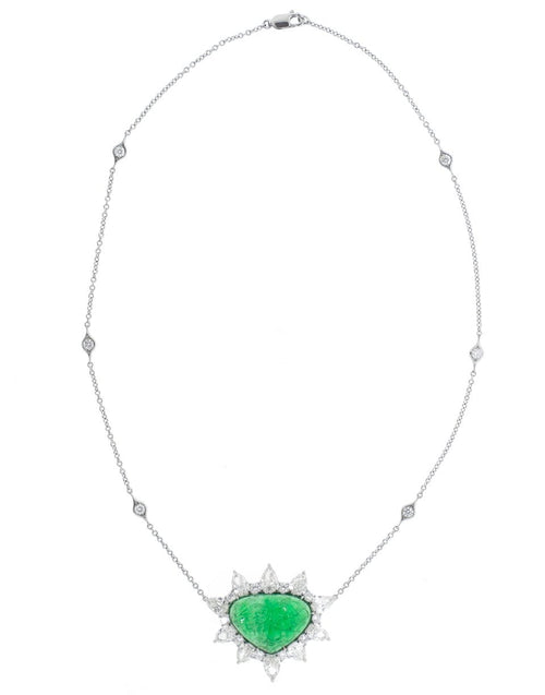 BAYCO JEWELRYFINE JEWELNECKLACE O PLAT Carved Zambian Emerald and Diamond Necklace