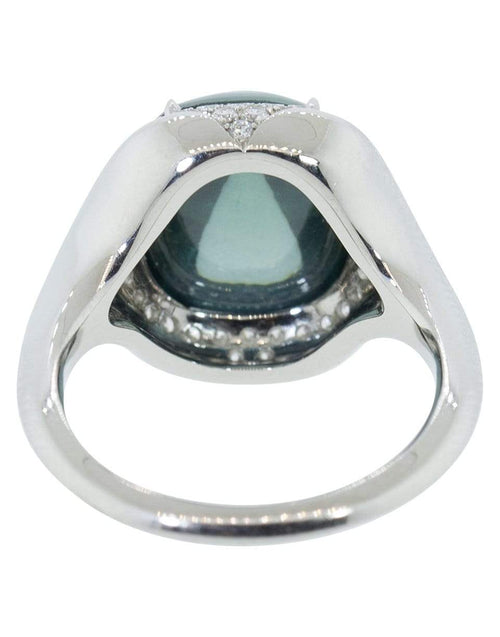 BAYCO JEWELRYFINE JEWELRING PLATINUM / 5.5 Sugarloaf Green Saphire and Diamond Ring