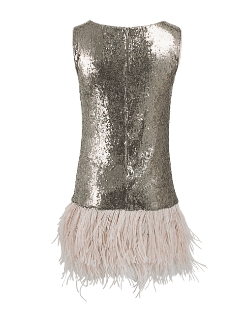 BLUGIRL CLOTHINGDRESSEVENING GOLD / 40 Sequin Shift Dress with Feathers