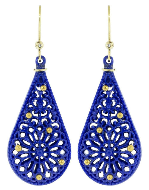 BOAZ KASHI JEWELRYFINE JEWELEARRING YLWGOLD Blue Coutsouk and Diamond Drop Earrings