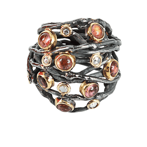 BOAZ KASHI JEWELRYFINE JEWELRING SILVER / 6 Oxidized Wire Ring with Tourmaline