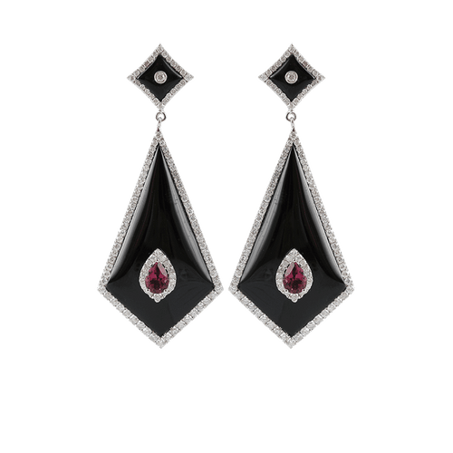 BOCHIC JEWELRYFINE JEWELEARRING WHT GOLD Black Resin, Ruby, and Diamond Earrings