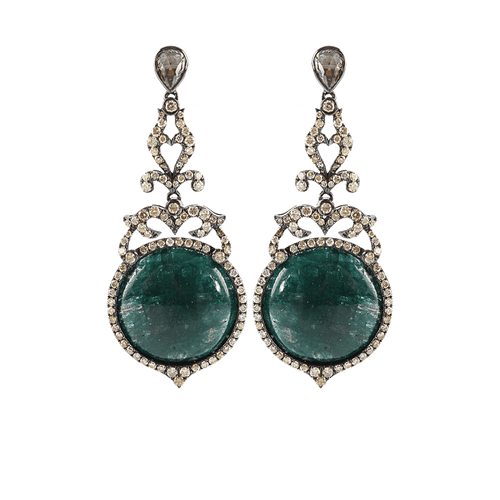 BOCHIC JEWELRYFINE JEWELEARRING WHT GOLD Emerald and Diamond Drop Earrings