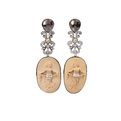 BOCHIC JEWELRYFINE JEWELEARRING WHTGOLD Carved Mammoth Cameo Earrings