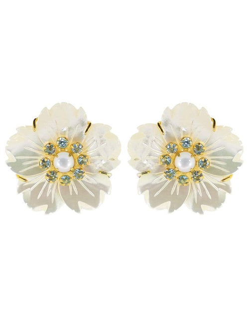 BOUNKIT JEWELRY JEWELRYBOUTIQUEEARRING BLUE Mother of Pearl Flower Clip Earrings