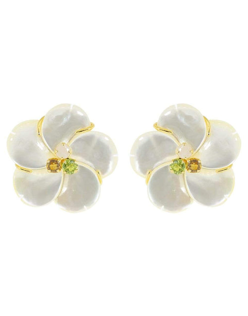 BOUNKIT JEWELRY JEWELRYBOUTIQUEEARRING CITRINE Mother of Pearl Flower Earring Set