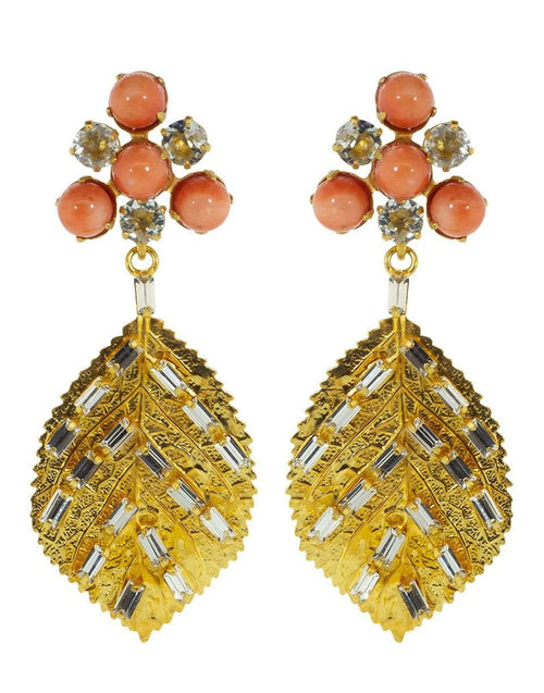 BOUNKIT JEWELRY JEWELRYBOUTIQUEEARRING CORAL 2-in-1 Bamboo Coral Drop Leaf Earrings Set