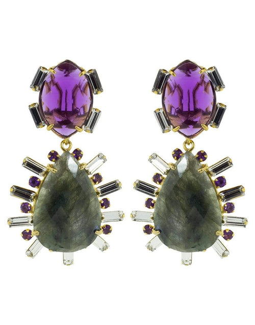 BOUNKIT JEWELRY JEWELRYBOUTIQUEEARRING PURPLE 2-in-1 Amethyst, Green Amethyst, and Lemon Quartz Earrings