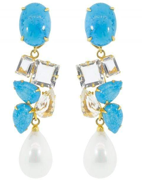 BOUNKIT JEWELRY JEWELRYBOUTIQUEEARRING TURQ/LEM Turquoise and Pearl Drop Earring Set