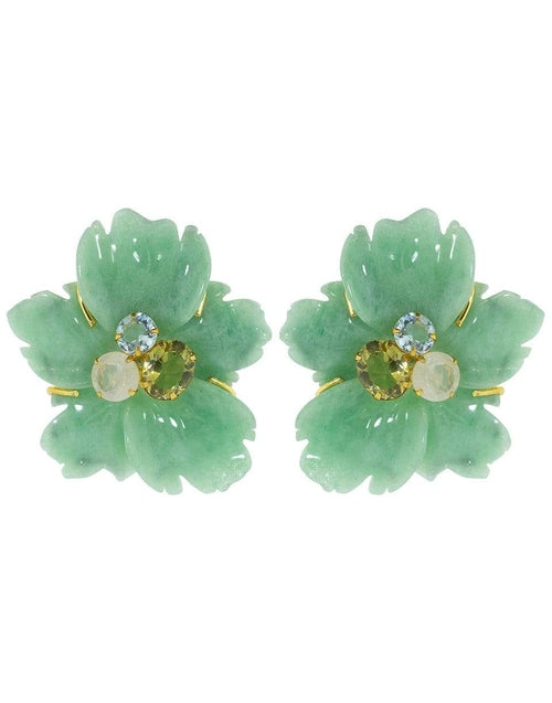 BOUNKIT JEWELRY JEWELRYBOUTIQUEEARRING YLLW/GRN Carved Green Adventurine Flower Earrings