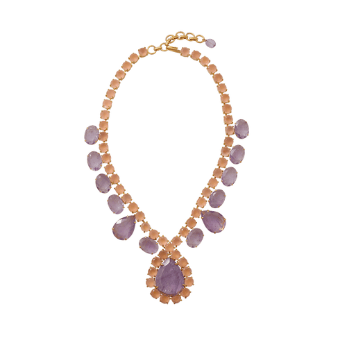 BOUNKIT JEWELRY JEWELRYBOUTIQUENECKLACE O ROSE Amethyst Rose Quartz Necklace