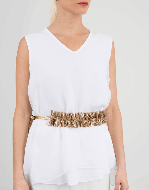 BRUNELLO CUCINELLI ACCESSORIEBELTS GOLD / O/S Leather Fringe Tie Belt