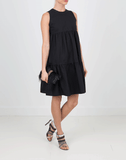 BRUNELLO CUCINELLI CLOTHINGDRESSCASUAL Monili Tiered Dress With Grosgrain Ribbon Tie