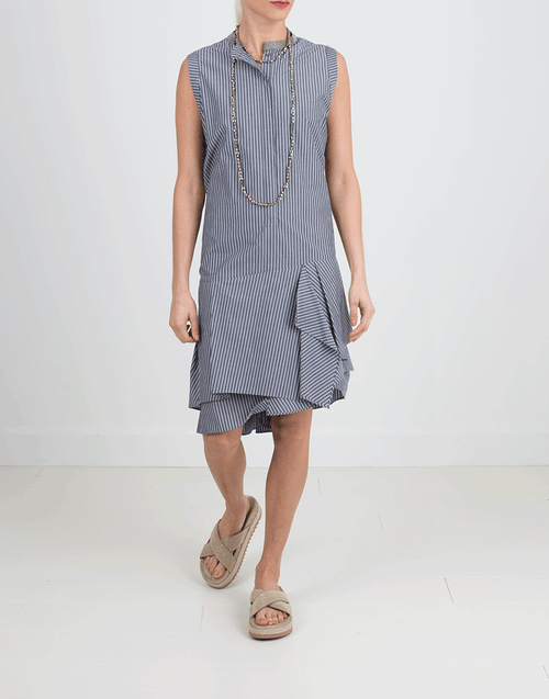 BRUNELLO CUCINELLI CLOTHINGDRESSCASUAL Striped Gathered Bottom Dress