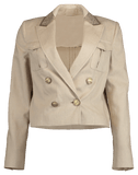 BRUNELLO CUCINELLI CLOTHINGJACKETBLAZERS Cropped Linen Paillette Collar Jacket