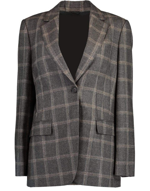 BRUNELLO CUCINELLI CLOTHINGJACKETMISC Monili and Hematite Brooch Check Flannel Jacket