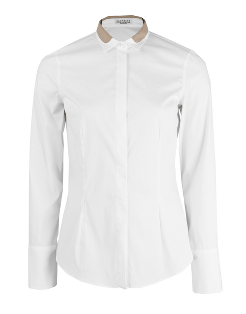BRUNELLO CUCINELLI CLOTHINGTOPBLOUSE Long Sleeve Blouse with Silk Monili Detail