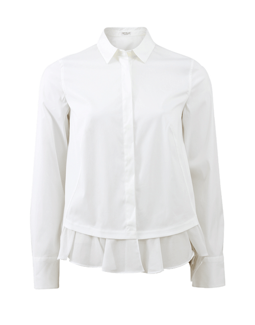 BRUNELLO CUCINELLI CLOTHINGTOPBLOUSE Voile Ruffle Hem Blouse