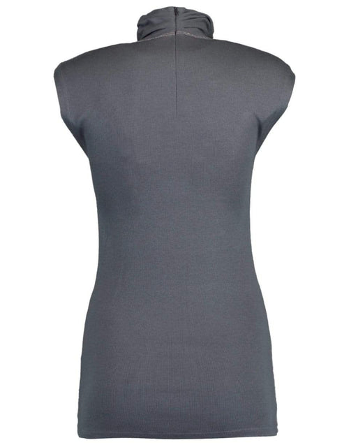 BRUNELLO CUCINELLI CLOTHINGTOPT-SHIRT GRAY / L Sleeveless Ribbed Mock Neck Tank with Monili