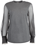 BRUNELLO CUCINELLI CLOTHINGTOPT-SHIRT Organza Sleeve Jersey Crewneck