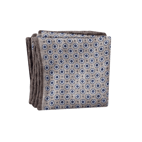 BRUNELLO CUCINELLI MENSACCESSORYMISC BLUE Silk Circle Dot Pocket Square