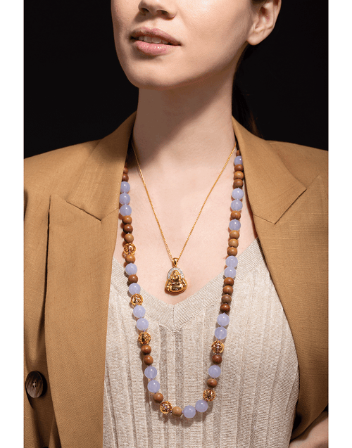 BUDDHA MAMA JEWELRYFINE JEWELNECKLACE O YLWGOLD Chalcedony and Wood Beaded Necklace