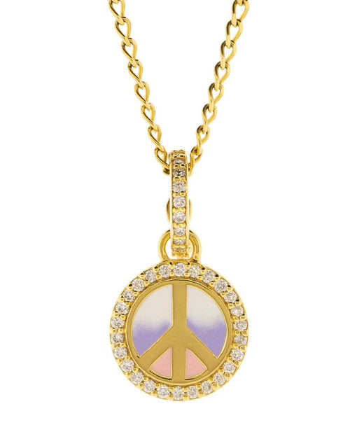 BUDDHA MAMA JEWELRYFINE JEWELPENDANT YLWGOLD Ombre Enamel and Diamond Peace Sign Pendant