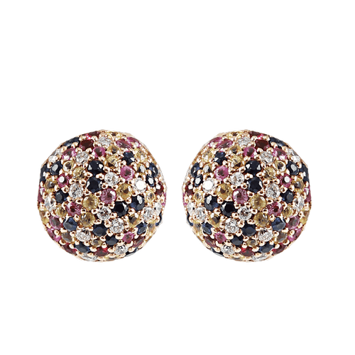 CAROLINA BUCCI JEWELRYFINE JEWELEARRING PINK GLD 1885 Rainbow Pave Button Earrings