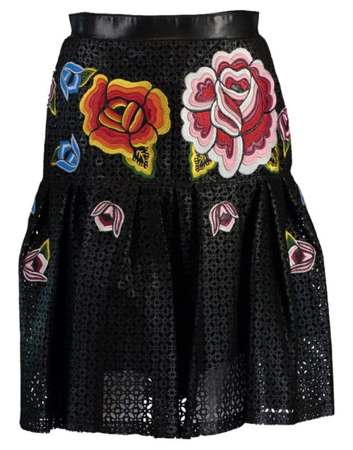 CAROLINA HERRERA CLOTHINGSKIRTMISC BLACK / 6 Embroidered Laser Cut Leather Skirt