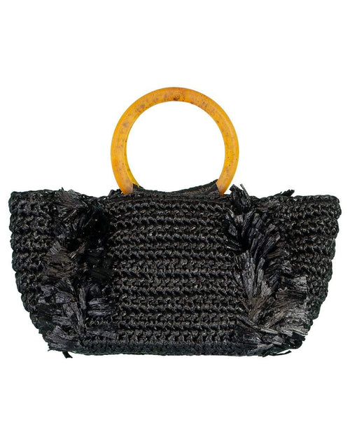 CAROLINA SANTO DOMINGO HANDBAGTOTES BLK/AMBR Black and Amber Corallina Raffia Top Handle Tote