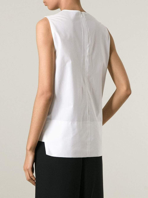 CEDRIC CHARLIER CLOTHINGTOPTANK Poplin V-Neck Top