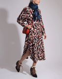 CHLOE CLOTHINGDRESSCASUAL RED/BLU / 36 Dolman Sleeve Paisley Print Dress