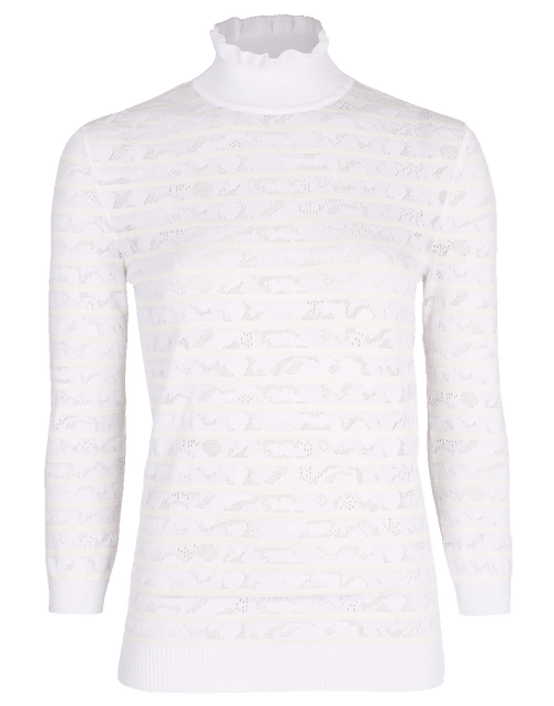 CHLOE CLOTHINGTOPKNITS Lace Insert Turtleneck Top