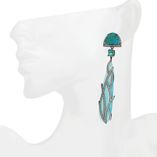 COLETTE JEWELRY JEWELRYFINE JEWELEARRING BLK GOLD Turquoise, Emerald and Teardrop Chalcedony Earrings