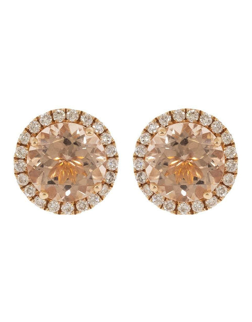 DANA REBECCA DESIGNS JEWELRYFINE JEWELEARRING ROSEGOLD Anna Beth Morganite and Diamond Studs