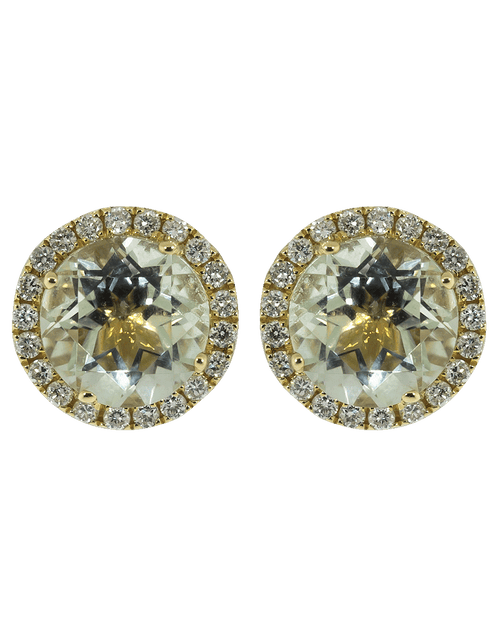 DANA REBECCA DESIGNS JEWELRYFINE JEWELEARRING YLWGOLD Anna Beth Green Quartz Diamond Studs