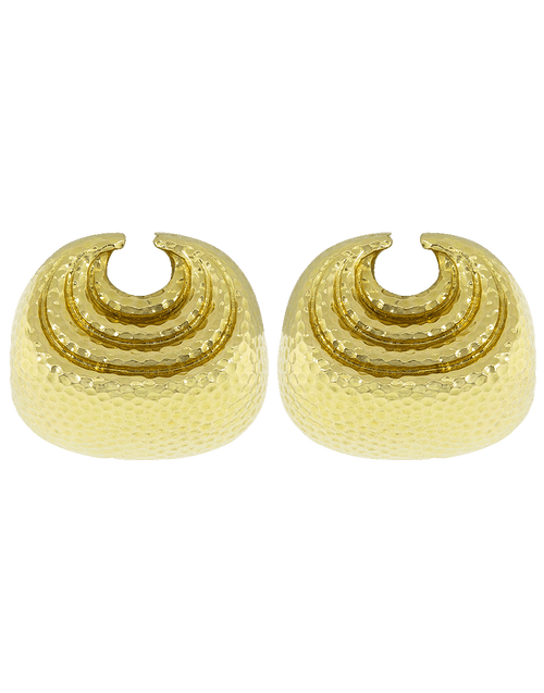 DAVID WEBB JEWELRYFINE JEWELEARRING YLWGOLD Concentric Crescent Earrings