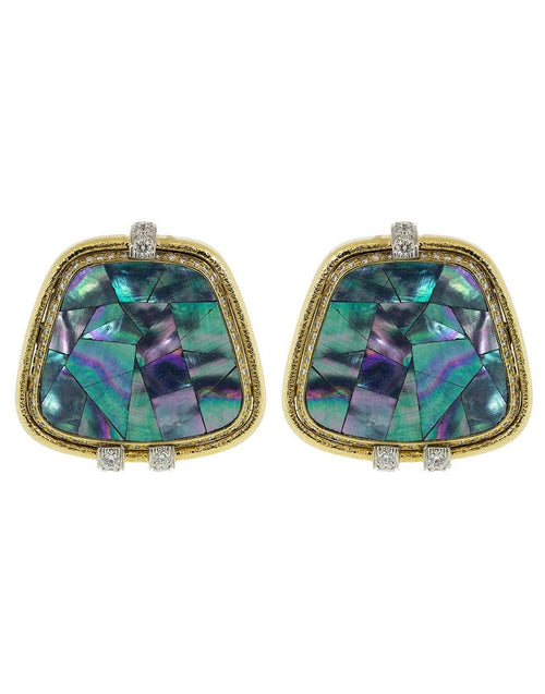 DAVID WEBB JEWELRYFINE JEWELEARRING YLWGOLD Couture Abalone Shell and Diamond Earrings