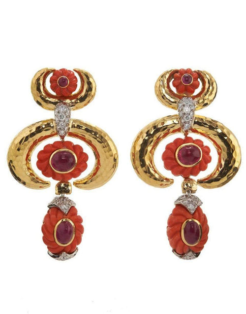 DAVID WEBB JEWELRYFINE JEWELEARRING YLWGOLD Crescent Coral Earrings