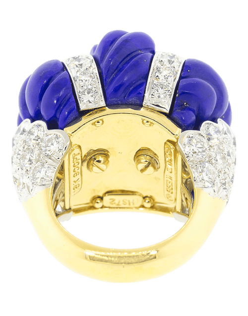 DAVID WEBB JEWELRYFINE JEWELRING YLWGOLD Swizzle Carved Lapis Diamond Ring