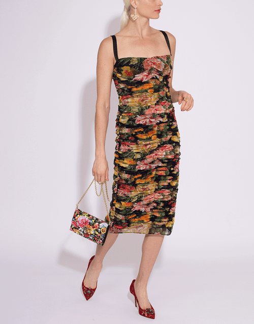 DOLCE & GABBANA CLOTHINGDRESSCASUAL Floral Tulle Ruched Fitted Dress