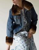 DOLCE & GABBANA CLOTHINGJACKETMISC BLUE / 42 Jean Jacket with Fur Trim