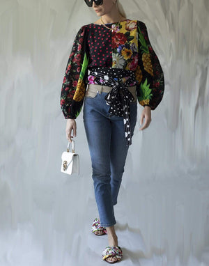 DOLCE & GABBANA CLOTHINGTOPBLOUSE Long-Sleeved Patchwork Crepe De Chine Blouse With Belt