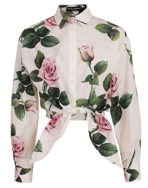 DOLCE & GABBANA CLOTHINGTOPBLOUSE Tropical Rose Print Cropped Tie Blouse