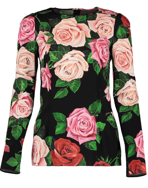 DOLCE & GABBANA CLOTHINGTOPMISC Rose Print Fitted Crewneck