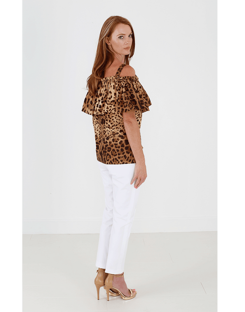 DOLCE & GABBANA CLOTHINGTOPTANK Off Shoulder Leopard Tank