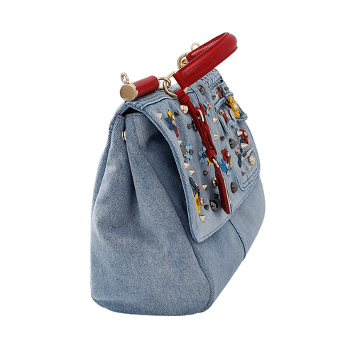 DOLCE & GABBANA HANDBAGSHOULDER RED/BLUE Denim Miss Sicily