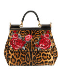 DOLCE & GABBANA HANDBAGTOP HANDLE LEOPARD Sicily Medium Top Handle Bag
